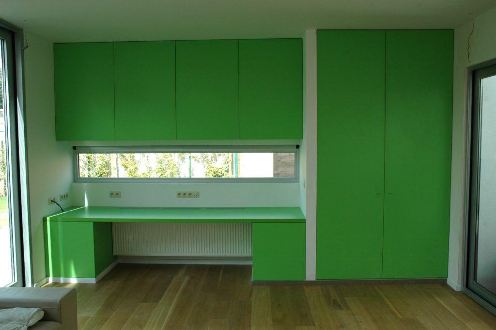 Wandkasten met bureau - kleurig en fris, - laminaat